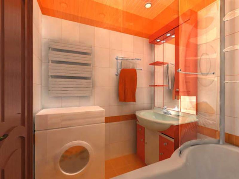 Ванная комната может быть оформлена в ярких тонах.