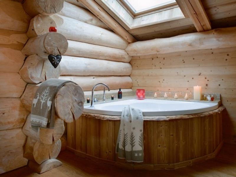 Дизайн ванной в деревянном доме